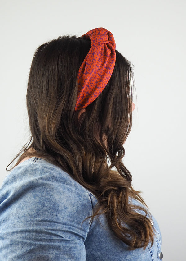 Orange Abstract Pansy Wide Knot Headband