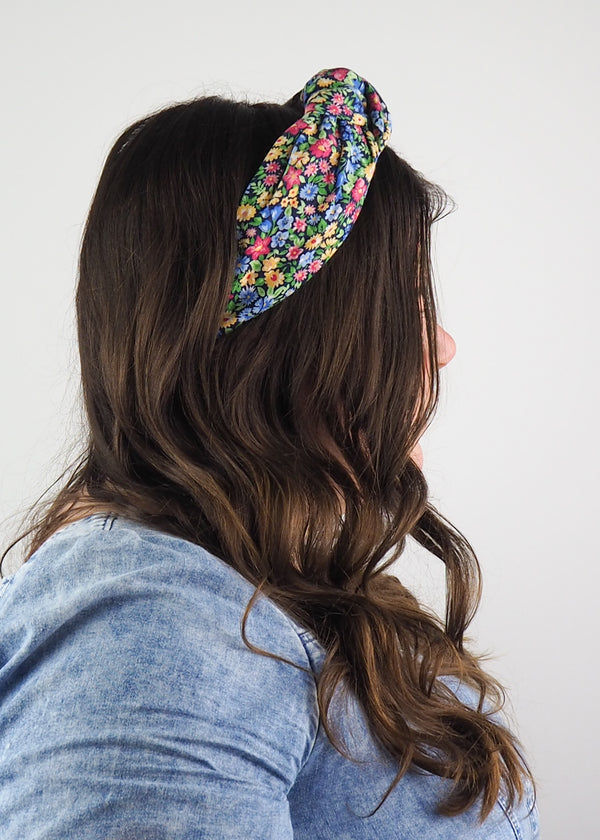 Colourful Flower Vintage Wide Knot Headband