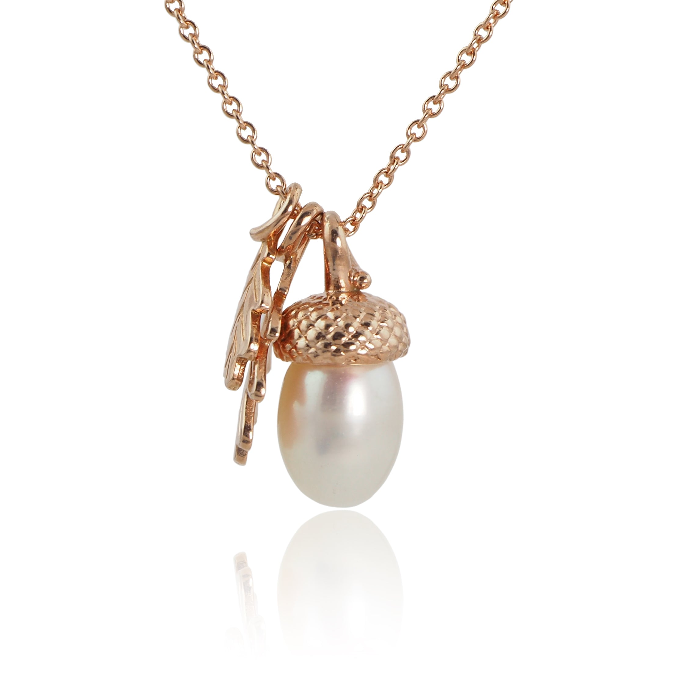 Pearl Acorn Necklace with Oak Leaves in Rose Gold Vermeil