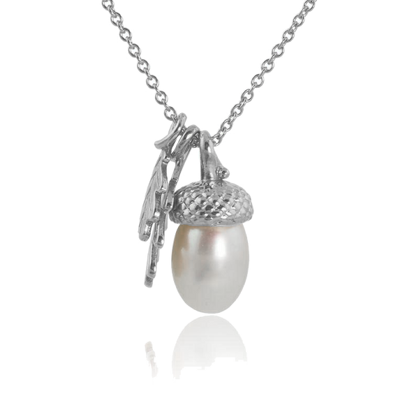 sterling silver pearl acorn necklace with oak leaves