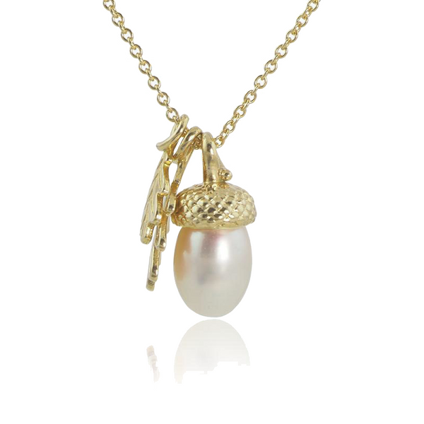 yellow gold pearl acorn necklace with oak leaves