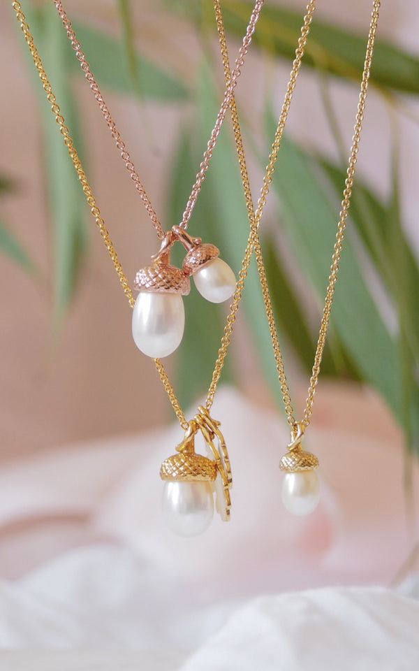 gold vermeil double acorn necklace with frewshwater cultured pearl acorns