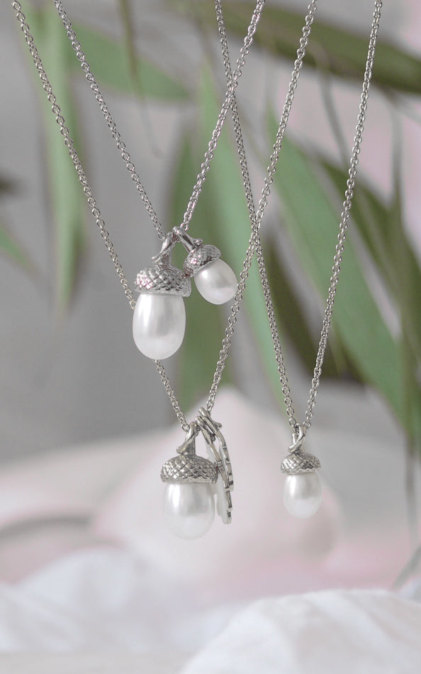 Silver Pearl Acorn Necklace