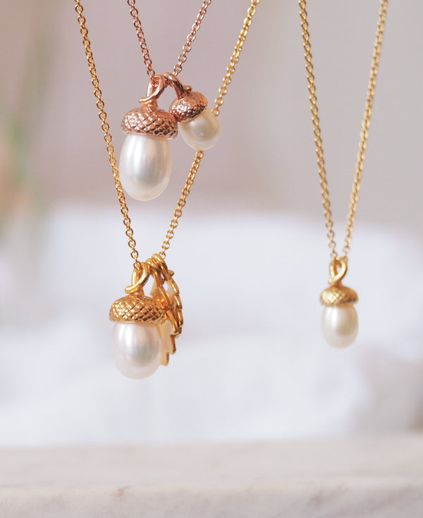 Gold vermeil small pearl acorn necklace pendant