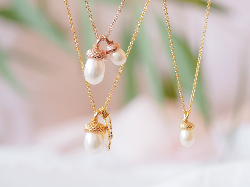 Pearl Acorn Necklace with Oak Leaves in Yellow Gold Vermeil