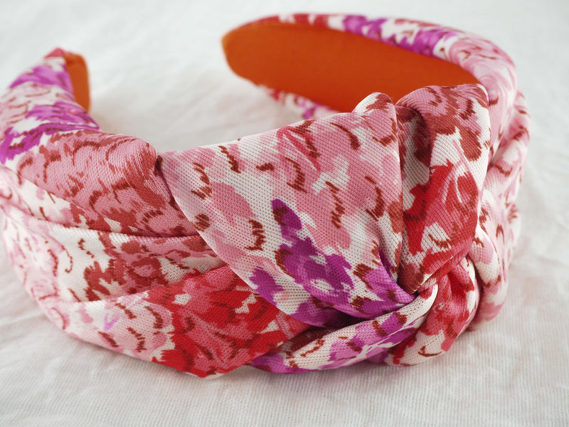 Pink floral wide knot fabric headband