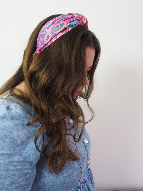Pink marbled psychedelic wide knot headband