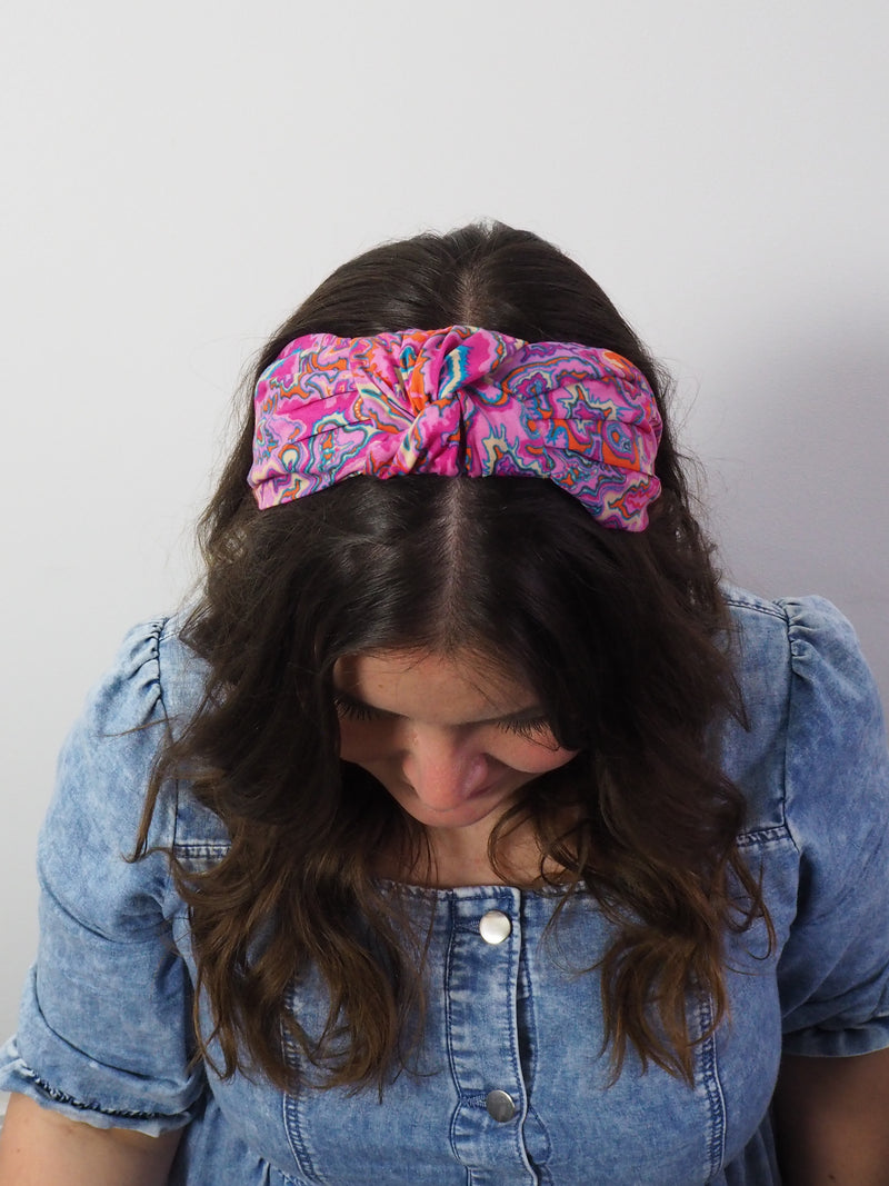 Marbled Pink Wide Knotted Headband