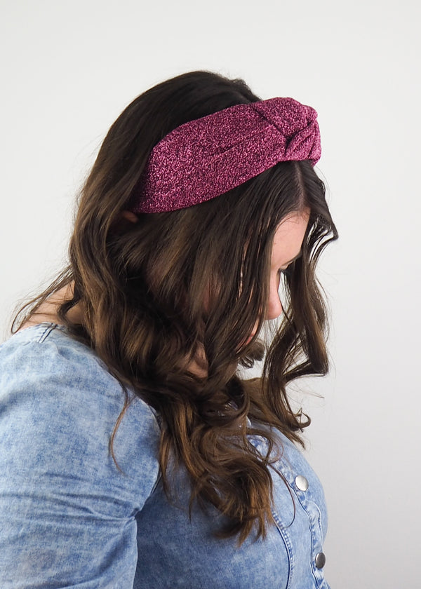 Pink Glitter Knit Wide Knot Headband
