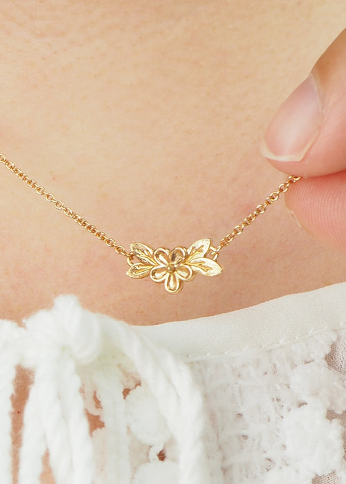 rose gold posy flower necklace
