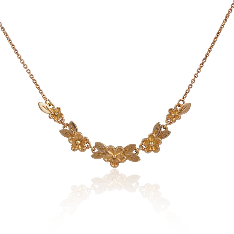 Gold gold vermeil small flower daisy chain necklace