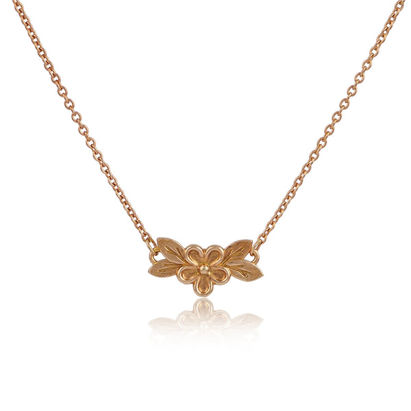 Rose gold vermeil small flower necklace pendant