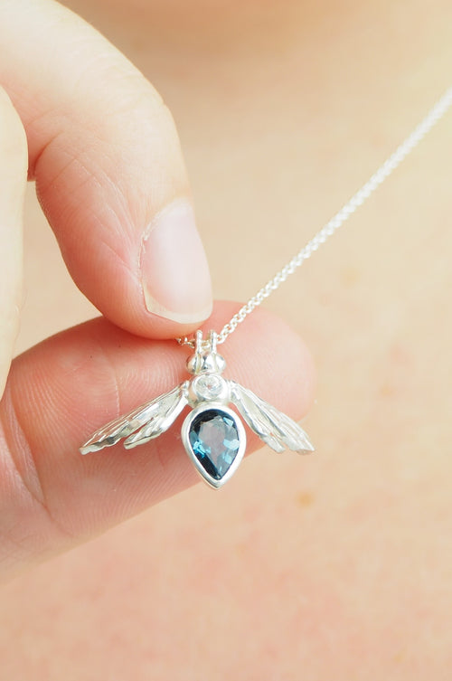 London Blue Topaz Gemstone Bee Necklace in Sterling Silver
