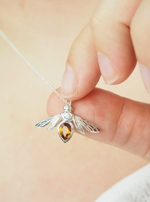 Citrine emstone Bee Necklace in Sterling silver with white sapphire