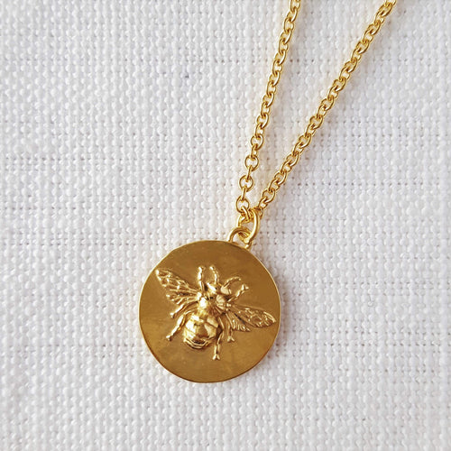 Gold Bee Disk Medallion Love Token Pendant Necklace