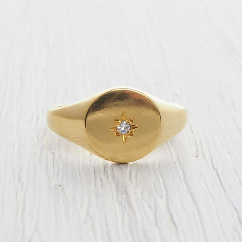 Yellow Gold Vermeil Star Signet Ring