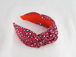 Pink cerise gingham wide knot fabric headband