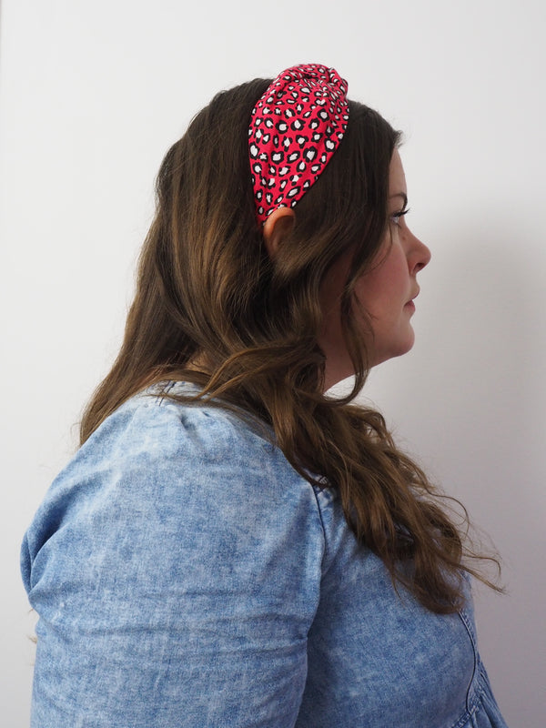 Red leopard print wide knot fabric headband