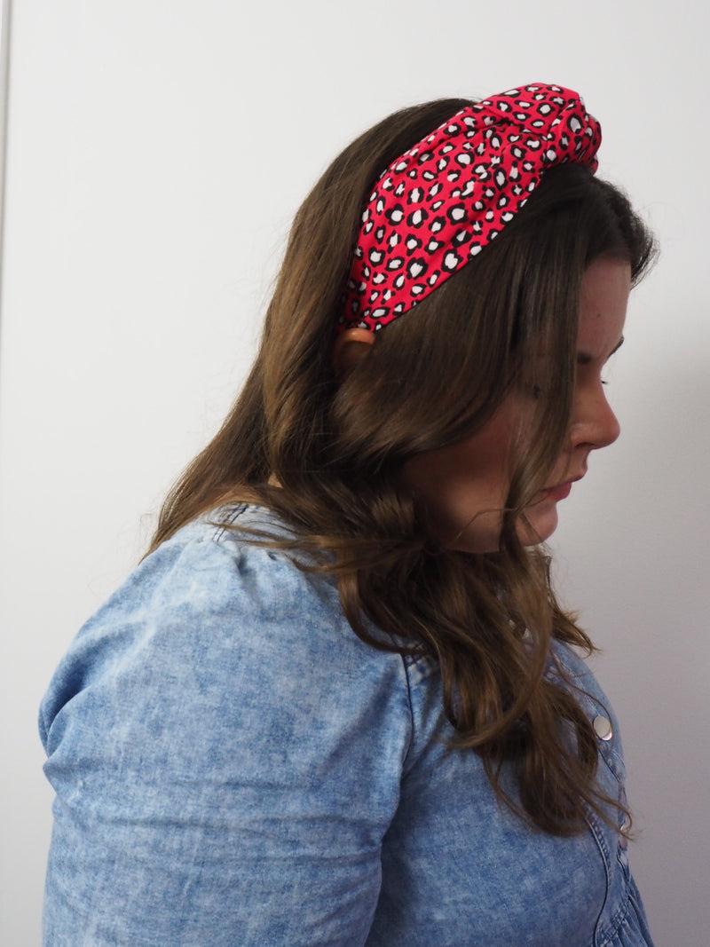 Red Leopard Print Wide Knotted Headband