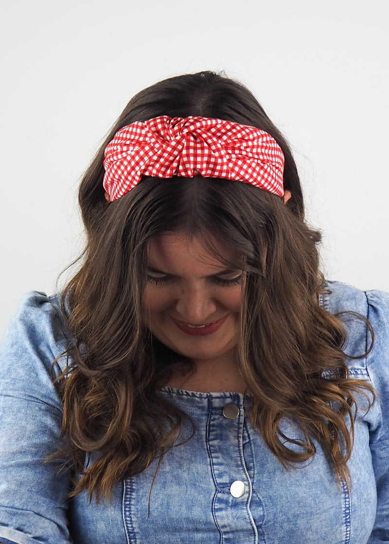 Red Gingham Wide Knot Headband