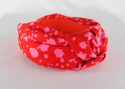 Pink and Red Spots Wide Knot Headband