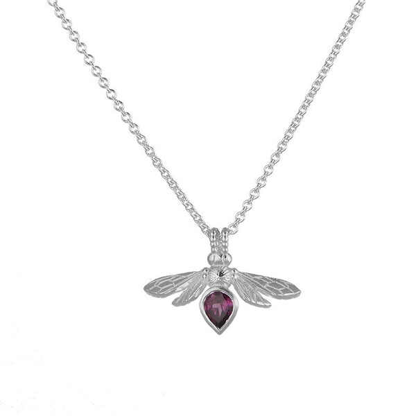 Silver Mini Gemstone Bee with Rhodolite Garnet