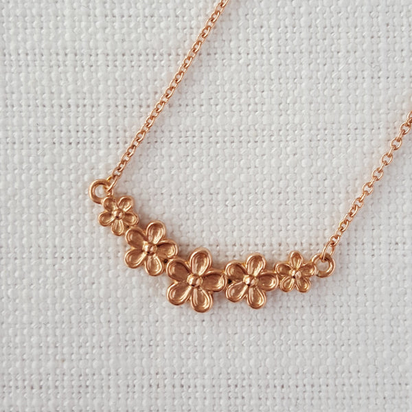 Rose gold vermeil flower bar necklace