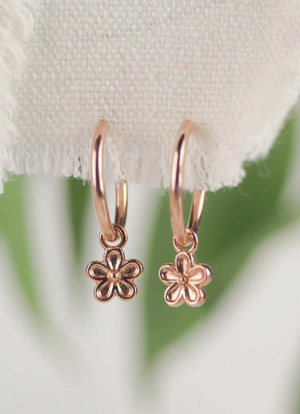 Rose gold vermeil flower charm drop hoop earrings