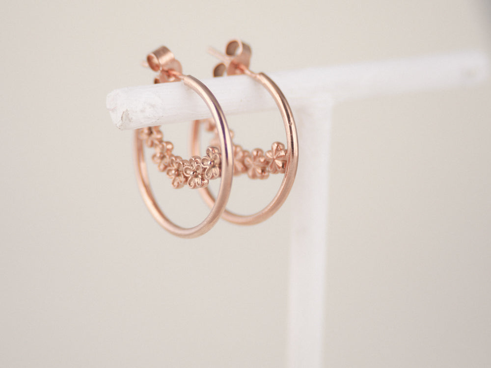 rose gold flower hoop earrings