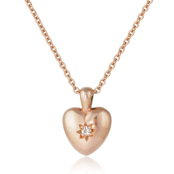 Rose gold vermeil heart necklace pendant with star set white sapphire gemstone