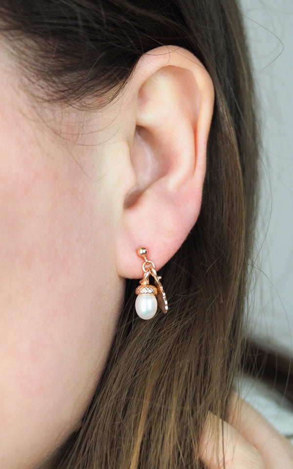 rose gold pearl acorn earrings with oak leaf