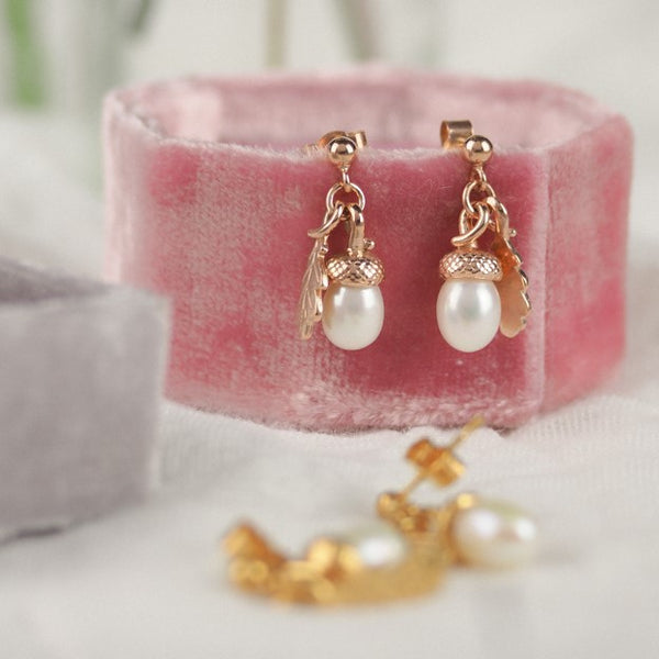 Rose Gold Pearl Acorn Earrings