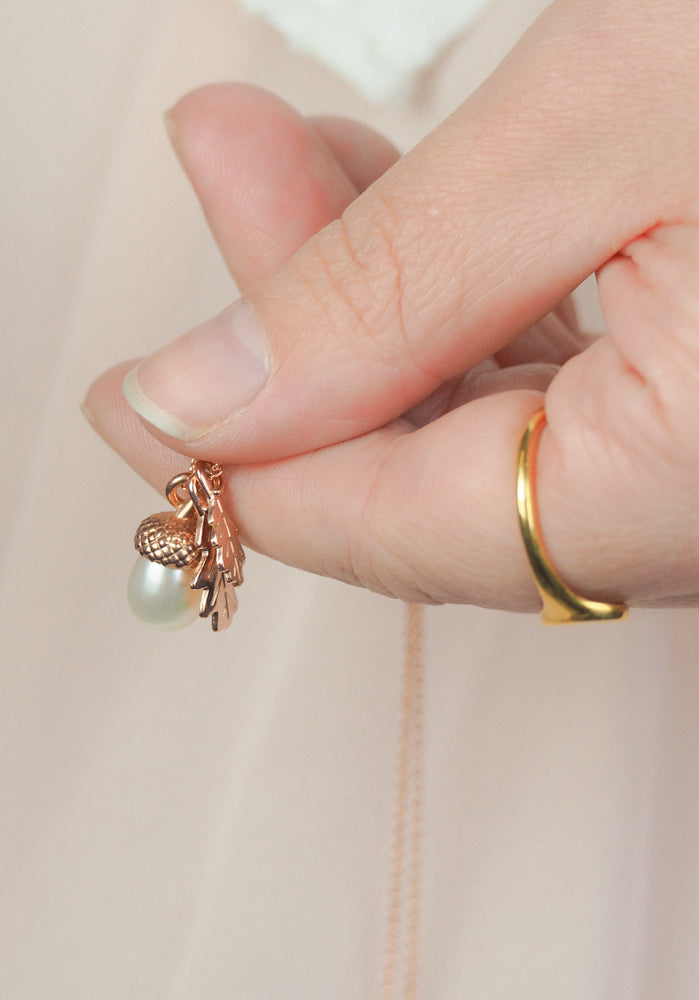 Pearl Acorn with Oak Leaves in Rose Gold Vermeil