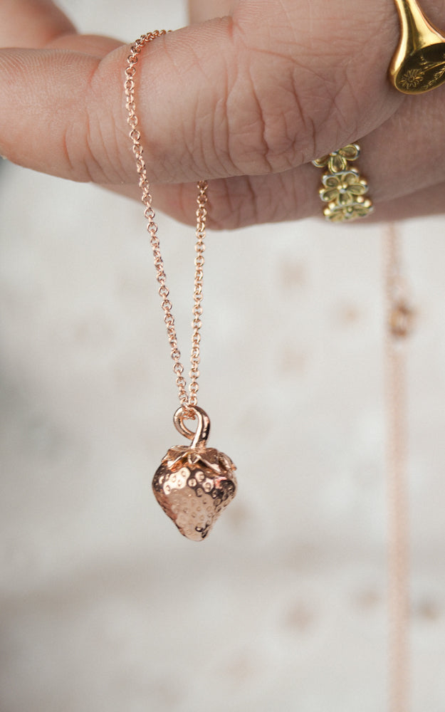 rose gold strawberry necklace