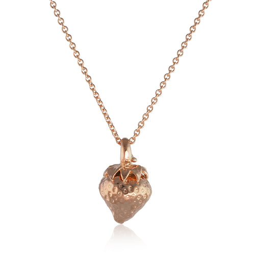 Rose Gold Vermeil Strawberry Pendant