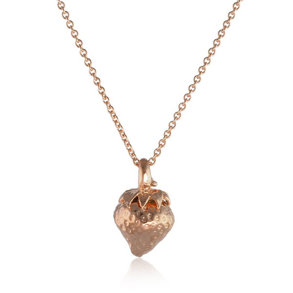 rose gold strawberry necklace Pendant