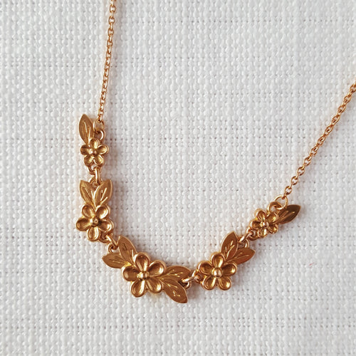 Rose Gold Posy Flower Necklace with leaves