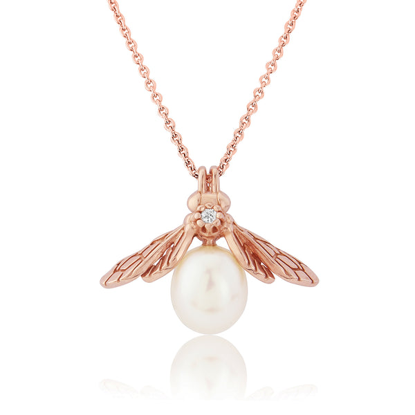 Rose Gold Pearl Bee Pendant Necklace with white sapphire gemstone