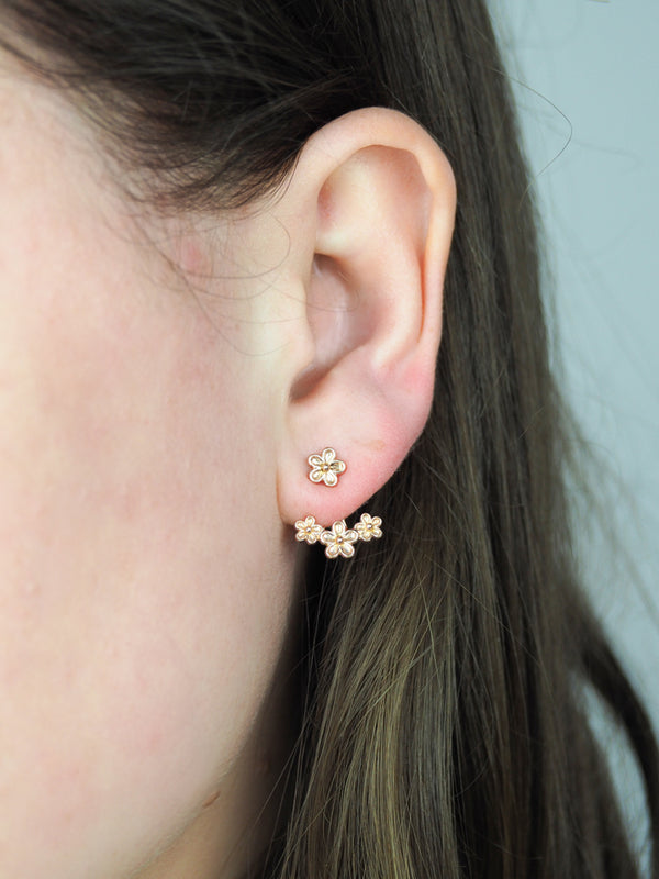rose gold flower earring jackets
