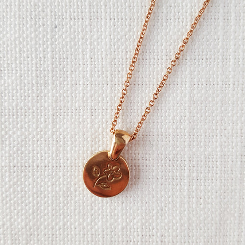 Rose Gold Flower Disk Love Token Necklace Pendant