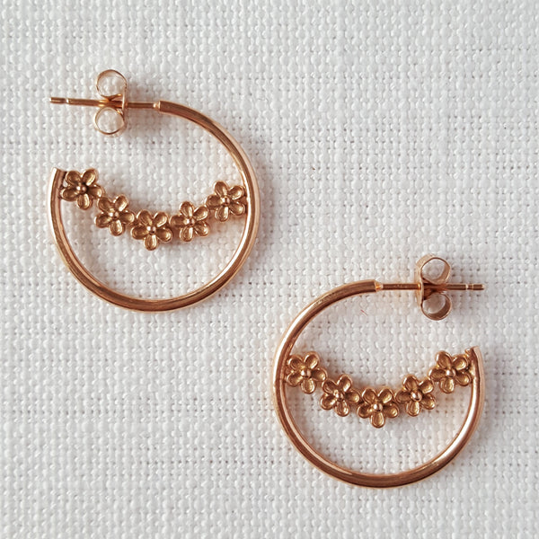 Rose Gold Garland Flower Hoop Earrings