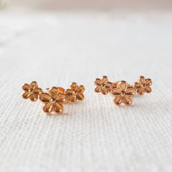 Rose Gold Garland Flower Stud Earrings