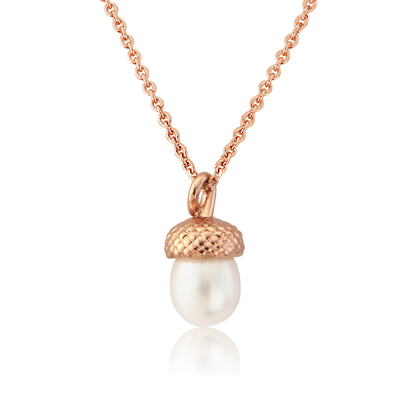 Rose Gold Pearl Acorn Pendant Necklace