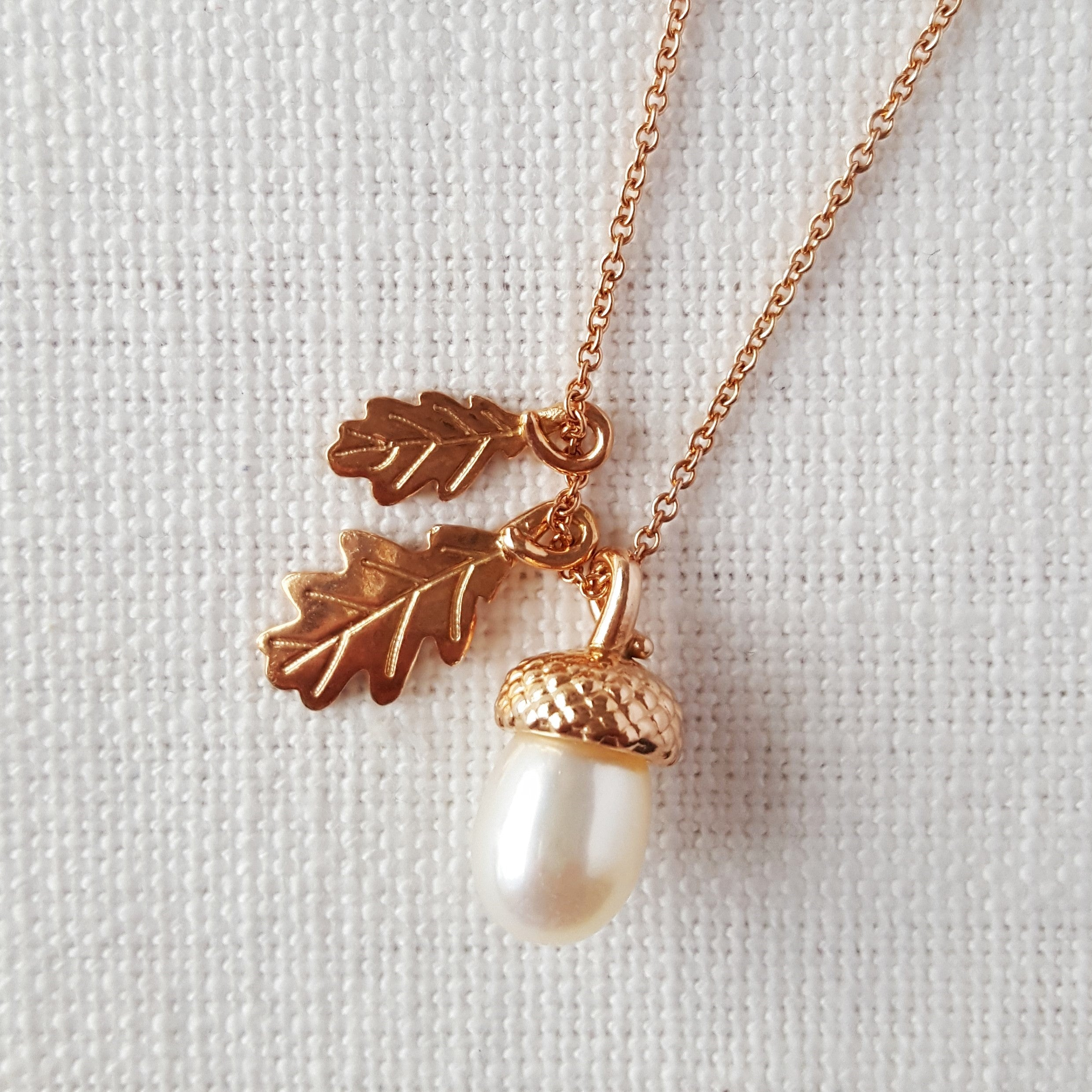 Rose Gold Pearl Acorn with Oak Leaves Pendant Necklace