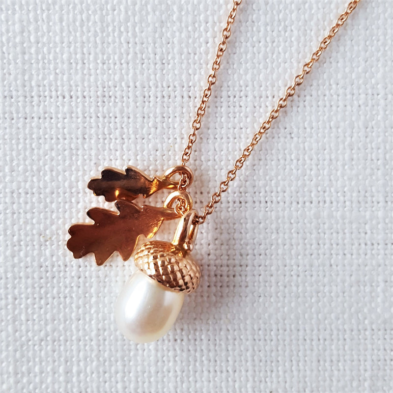 Rose Gold Pearl Acorn with Oak Leaves Necklace Pendant