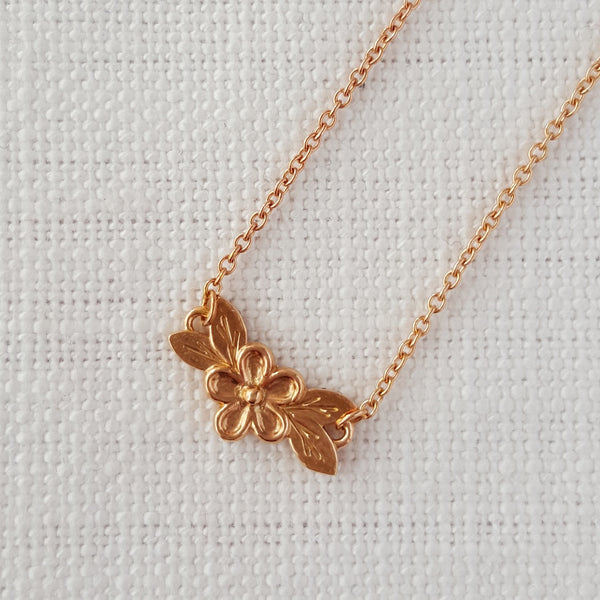 Rose Gold Posy Flower Necklace Pendant