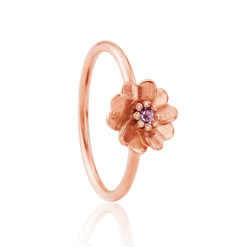 Rose Gold Wild Rose Flower Stacking Ring