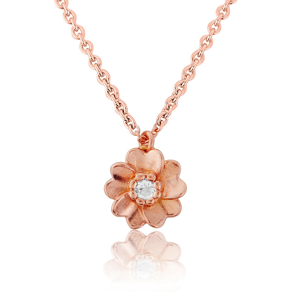 Rose Gold Wild Rose Flower Necklace Pendant