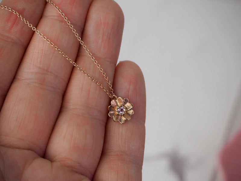 Rose Gold Wild Rose Flower Necklace