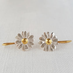 Gold and Silver Daisy Drop Earrings